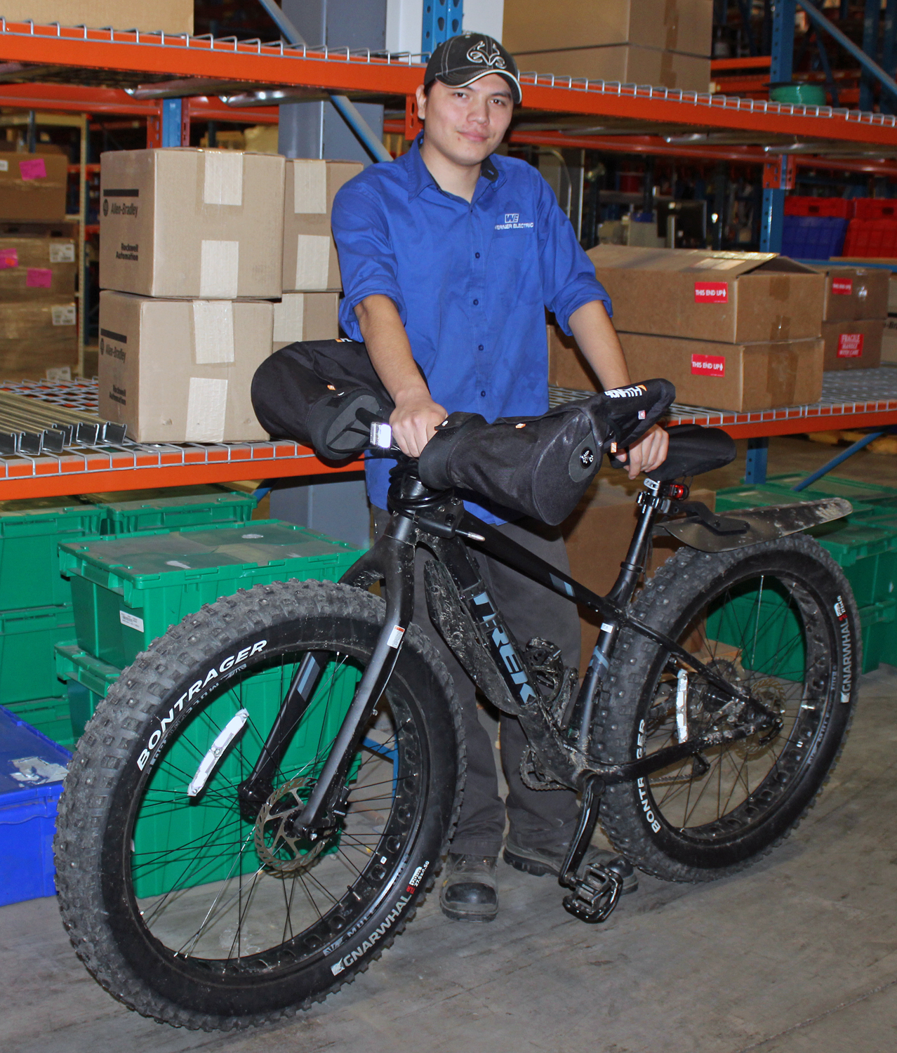 Generous co-workers surprise Jaron with a new set of Fat Bike wheels