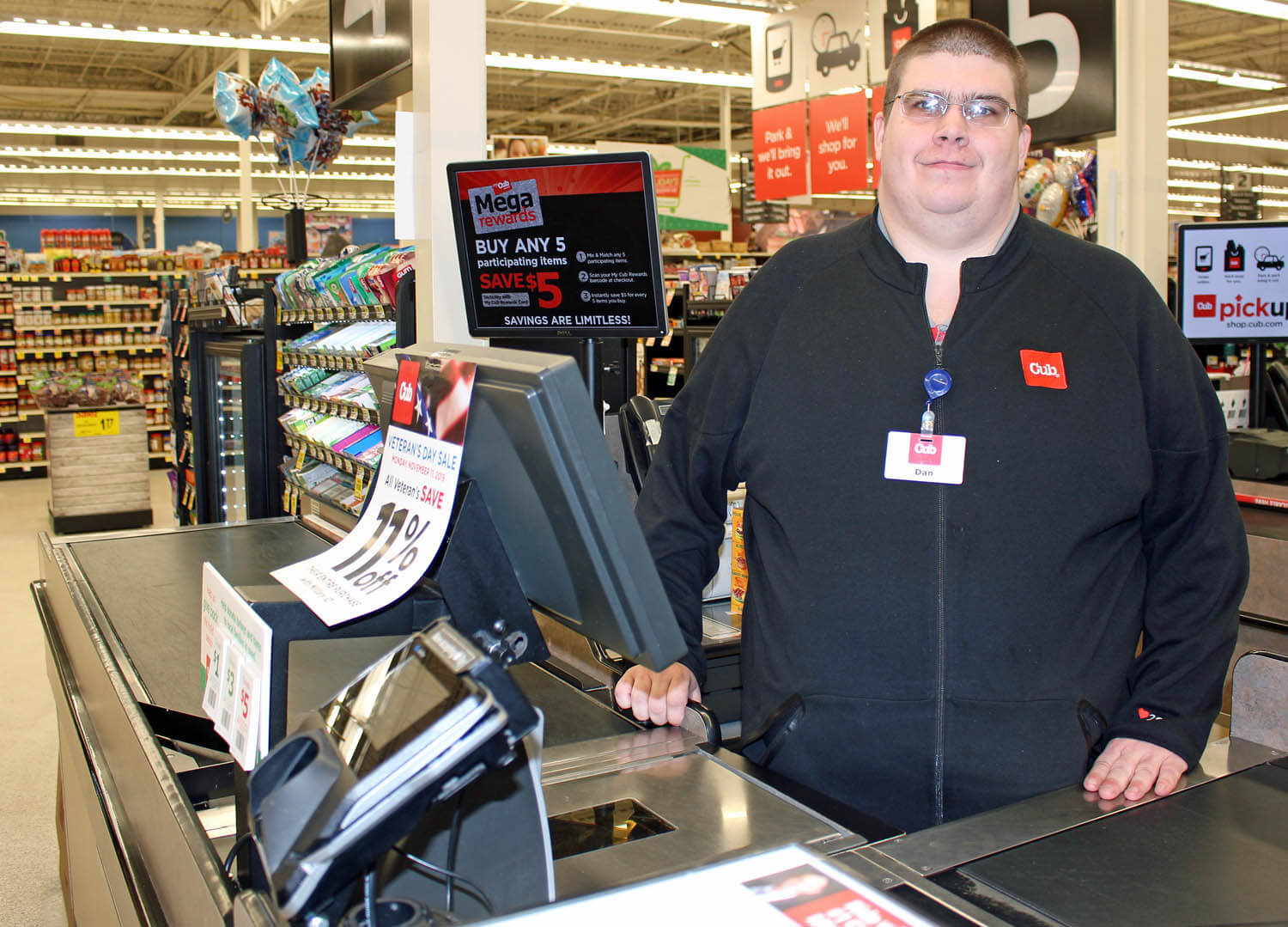 Bringing energy and enthusiam to his work, Dan Beauregard excels at cashiering job at Cub Foods